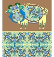 folk ethnic animal - wild boar with seamless vector image vector image