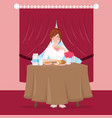 girl have breakfast with bread and tea on table vector image vector image