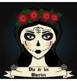 Girl with sugar skull calavera make up Mexican vector image
