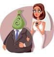 gold digger marrying sugar daddy cartoon vector image vector image