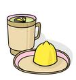 Green tea with lemon vector image