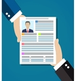 hand holding resume for interview vector image