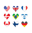 heart-shaped flags vector image vector image