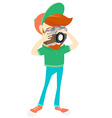 Hipster funny bearded man with camera Flat style vector image vector image