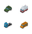 isometric car set of armored truck autobus and vector image vector image