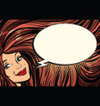 joyful woman with long hair and a comic bubble vector image vector image