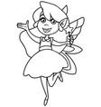 little green fairy line art vector image vector image