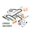 logistic isometric plan for transportation of vector image vector image