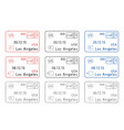 los angeles passport stamps arrival and departure vector image vector image
