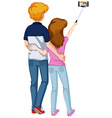 Love couple taking picture from phone vector image vector image