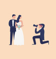 lovely newlyweds standing together and posing for vector image vector image