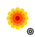 Marigold calendula flower top view logo Black vector image