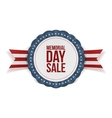 Memorial Day Sale patriotic Emblem and Ribbon vector image