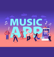 music app concept young people wearing headset vector image vector image