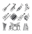 Musical instruments thin line icons vector image vector image