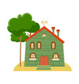 one of set of cute cartoon houses in child style vector image vector image