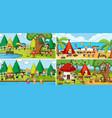 outdoor scene set with many kids doodle cartoon vector image