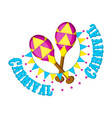 pair of carnaval maracas with party ornaments vector image