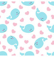 pattern with whale and hearts vector image vector image