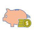 piggy to save money and coins cash currency vector image vector image