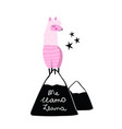 pink llama on hill or mountain hand drawn me vector image vector image