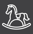 rocking horse line icon wooden toy vector image vector image