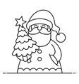 santa flat design line art vector image vector image