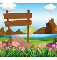 Scene with wooden signs by the lake vector image