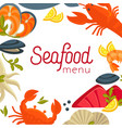 seafood menu cover with exotic food as frame vector image vector image