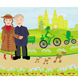 Senior couple walking in sunny day with dogs vector image vector image