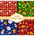Set of Christmas seamless patterns Backgrounds vector image vector image