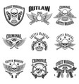 set of outlaw criminal street warrior emblems vector image vector image