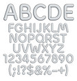 silver alphabet letters numbers and signs vector image vector image