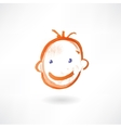 Smiling kid grunge icon vector image