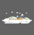snowing urban winter landscape in flat design vector image