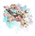 spring apple blossom and bird vector image