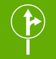 straight or right turn ahead road sign icon green vector image vector image