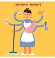 Successful Housewife Successful Woman Multitasking vector image