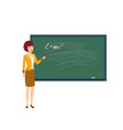 teacher in physics class with pointer in hand vector image