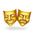 Theater masks gold icons realistic vector image