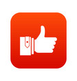 thumbs up icon digital red vector image vector image