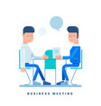 two businessmen talk at the table business vector image vector image