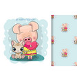 two cute cartoon pigs on a blue background vector image vector image