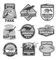 vintage grunge dinosaur labels dino logos vector image