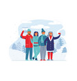winter holidays people on ski resort characters vector image