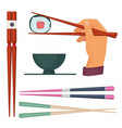 wooden chopstick oriental kitchen items for vector image vector image