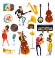jazz music cartoon set vector image