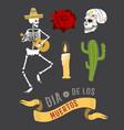 colorful symbols for dia de los muertos day of the vector image