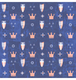 Kids royal pattern with crowns and shields vector image