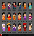 asian girls in national dress vector image vector image